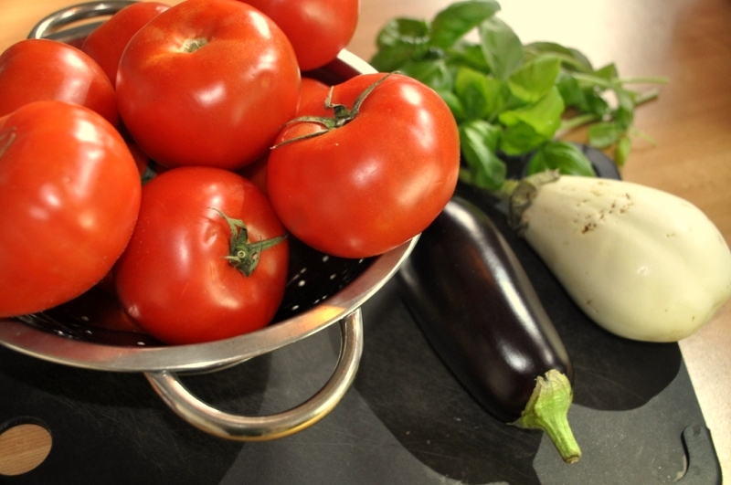 tomatos and eggplant fresh vegetables