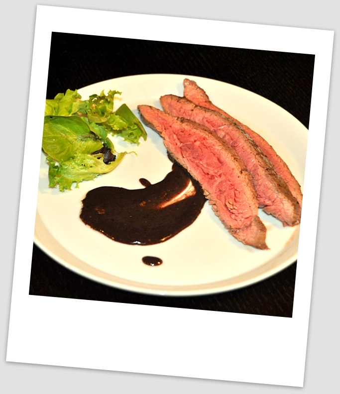 flank steak with sauce